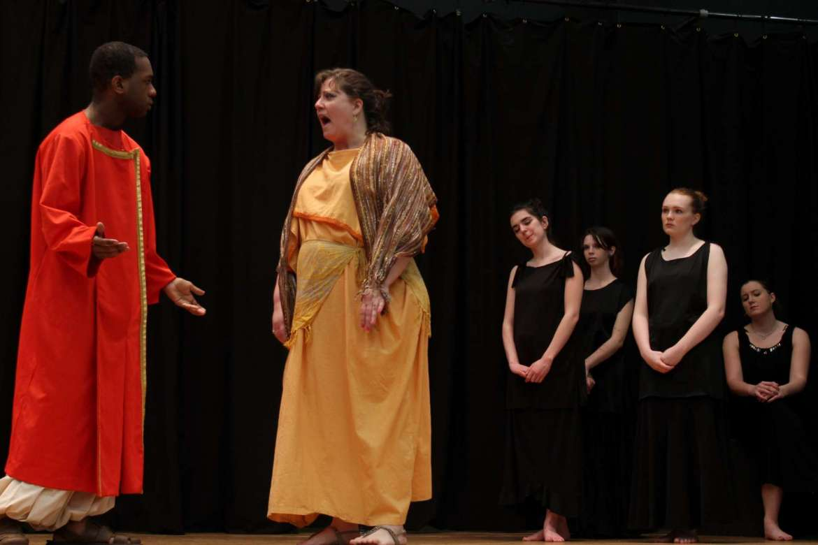 Members of the Rude Mechanicals Medieval and Renaissance Players  performing in the spring production include (from left) Jake Anderson, Jeannie Moore, Rebecca Tidwell, Tessa Congo, Ashley Hall, and Ida Grabiak.