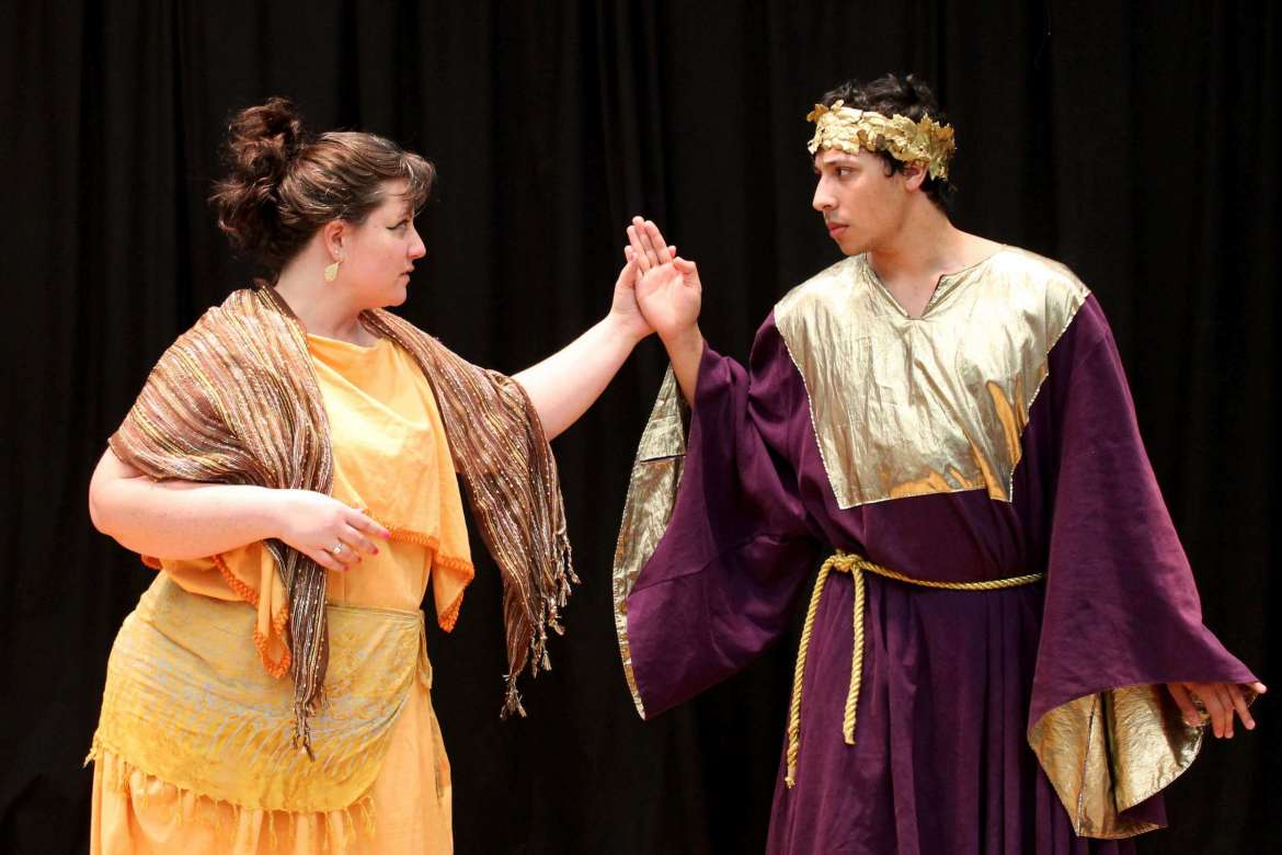 Jeannie Moore (left) and Adam Wilson rehearse for the spring production by the Rude Mechanicals Medieval and Renaissance Players.