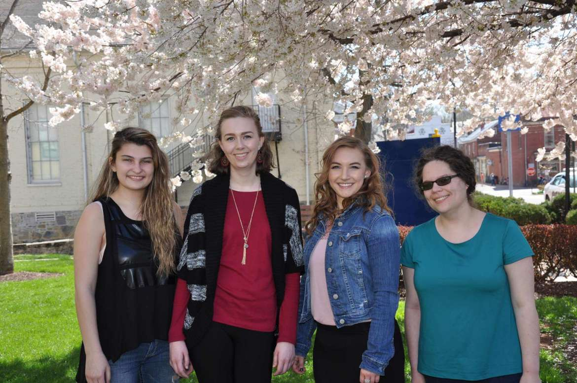 Shepherd students who participated in the 24th Annual West Virginia Undergraduate English Symposium on March 19 include (from left) Emily Spangler, Huntington; Julia Athey, Charles Town; Chloe Powers, Inwood, first place for best-written essay; and Claudia McCarron, Charles Town. Not pictured are Michael Barbour, Martinsburg, first place in outstanding presentation of his paper; and Rachel DeGrave, Glengary.