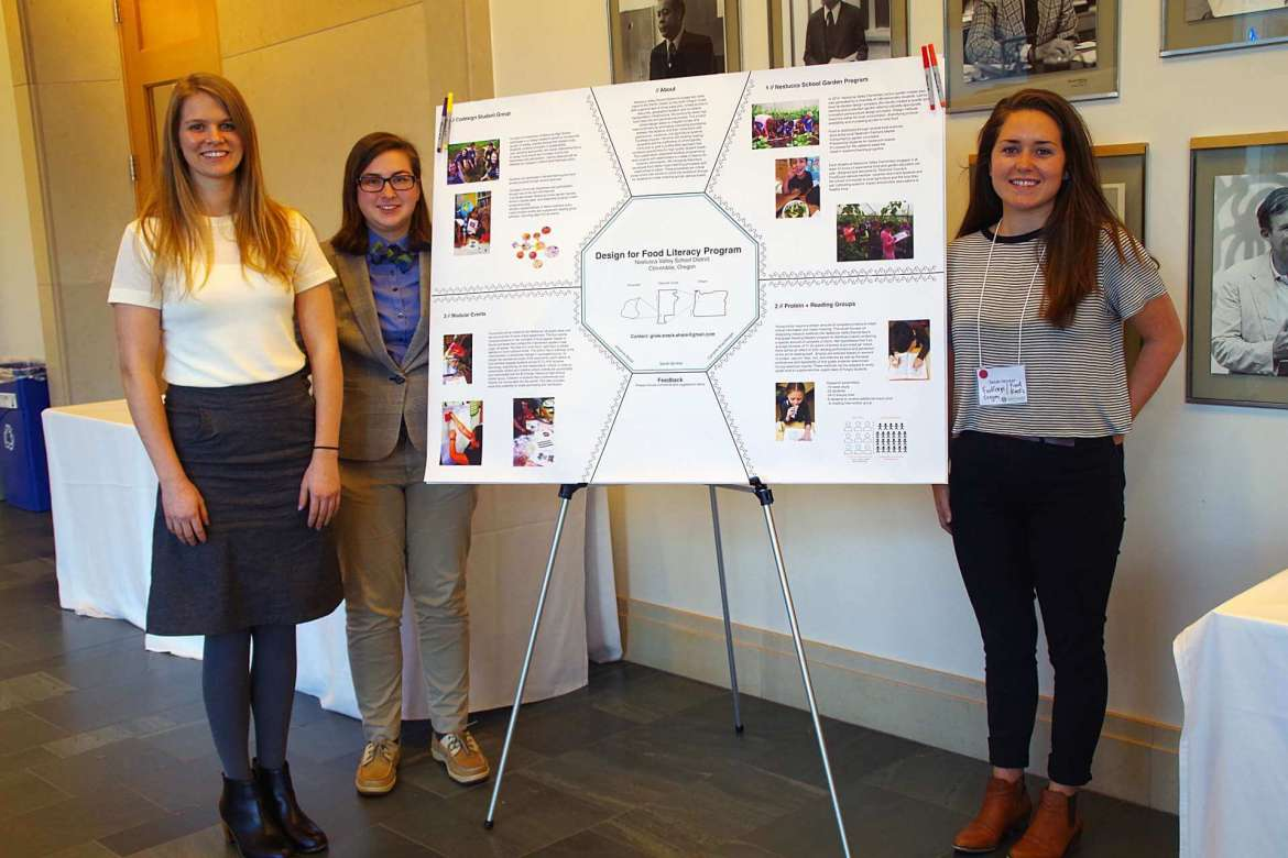 Shepherd University psychology major Caroline Shamberger recently made a presentation during the annual Just Food? Forum on Land Use, Rights & Ecology at Harvard. Pictured, from left, are Johanna Wood, leader of the Design for Food Literacy Program and the CoDesign Club at Nestucca High School; Shamberger; and Sarah Skinker, a service member for FoodCorps of Oregon.