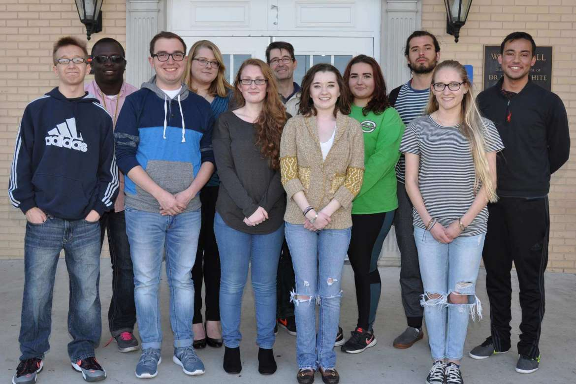 Members of Shepherd's Model U.N. Team include (front row, from left) Phillip Gooden, Fairmont; Devin Spinks, Summersville; Rebecca Kamp, Martinsburg; Brooke Poling, Parkersburg; Danielle Marple, Martinsburg. (back row, from left) Abimbola Olusanjo Oyebanji, Martinsburg; Emma Lindsey-Severns, Charles Town; Dr. Aart Holtslag, assistant professor of political science and Model U.N. Advisor; Mikayla DuHaime, Albany, New York; Wilhelm Remberg Roma, Mexico, and Quinn Kahsay, Kearneysville. Not pictured are Mohammed Omer, Bunker Hill; Balkis Azzez, Tunisia; Hunter Cutlip, Clarksburg; Dillon Enright, Columbia, Maryland; and Nathan Emery, Martinsburg.