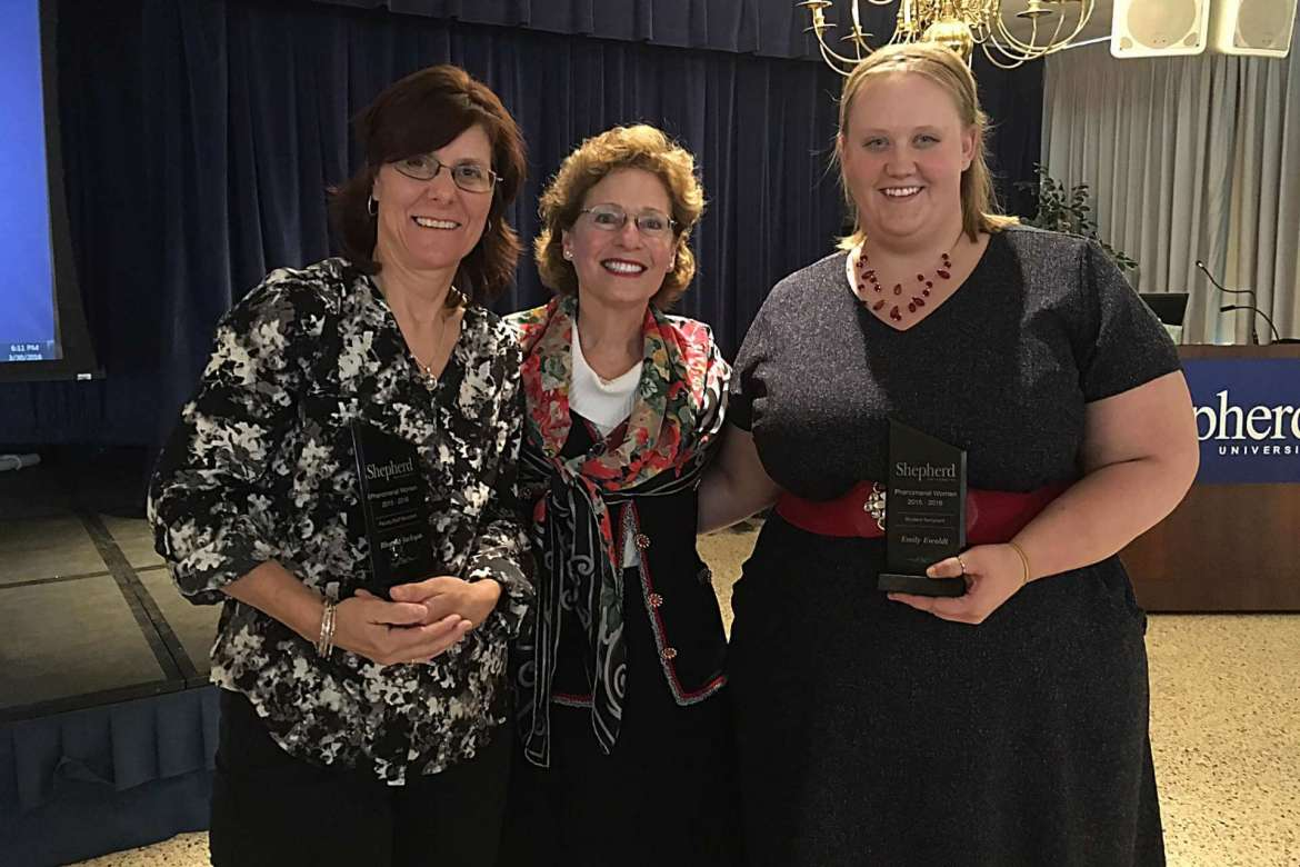 Dr. Mary J.C. Hendrix (center), Shepherd University president, was the keynote speaker during the first Phenomenal Woman awards on March 30. Hendrix presented awards to Rhonda Jackson (left), counselor and sexual assault response coordinator, and Emily Ewoldt, a graduate assistant who oversees disability support services.