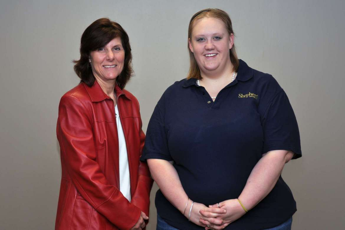 Rhonda Jackson (left), counselor and sexual assault response coordinator, and Emily Ewoldt, a graduate assistant who oversees disability support services, were presented Shepherd's first Phenomenal Woman awards during a ceremony on March 30.