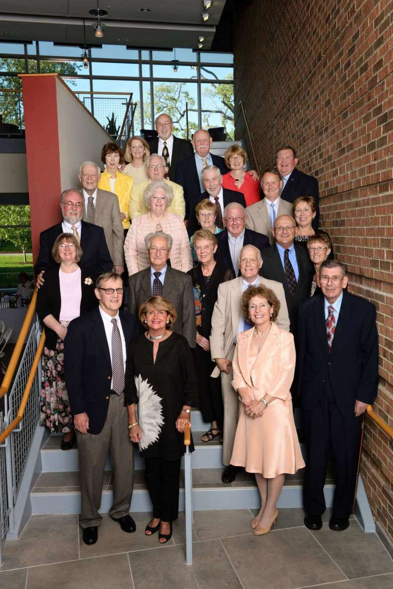 Members of the Joseph P. McMurran Society gather in the atrium of Erma Ora Byrd Hall for the annual dinner reception.