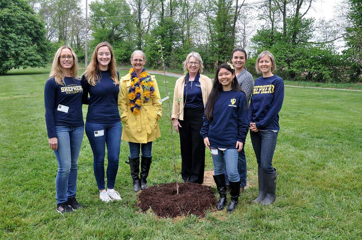 SNAP-Ed participants include (from left) Dr. Danielle Hollar, coordinator; Helen Zumbach, a music education major from Frederick, Maryland; Charlotte Davis, Page Jackson Elementary School kindergarten aid; Dr. Virginia Hicks, dean of the School of Education and Professional Studies; Annika Rochefort, an education major from Shenandoah Junction; Heather Duncan, Eastern Panhandle Conservation District; and Alex Greer, coordinator.
