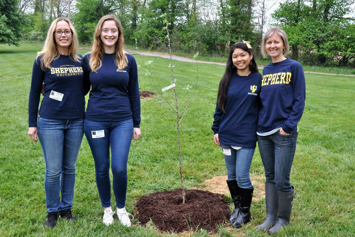 SNAP-Ed participants from Shepherd University include (from left) Dr. Danielle Hollar, coordinator; Helen Zumbach, a music education major from Frederick, Maryland; Annika Rochefort, an education major from Shenandoah Junction; and Alex Greer, coordinator.