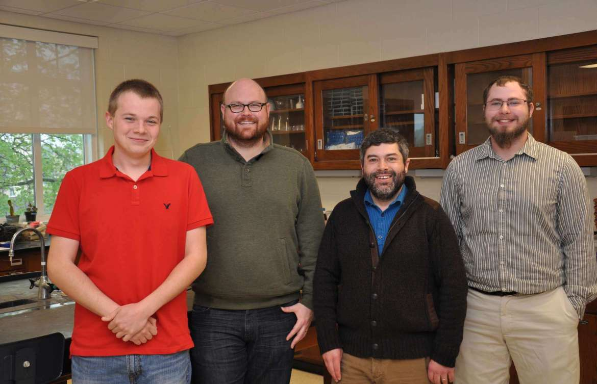 Three Shepherd University students have been awarded $4,500 undergraduate research fellowships grants from the NASA West Virginia Space Grant Consortium to work with a Shepherd professor to conduct research over the summer and during the next school year. Pictured, from left, are Marshall Hoffmaster, Hagerstown, Maryland; Dr. Jonathan Gilkerson, assistant professor of biology; Dr. Mark Lesser, assistant professor of biology; and Kyle Clark, Sterling, Virignia. Not pictured is Sierra Fowler, Hagerstown, Maryland.
