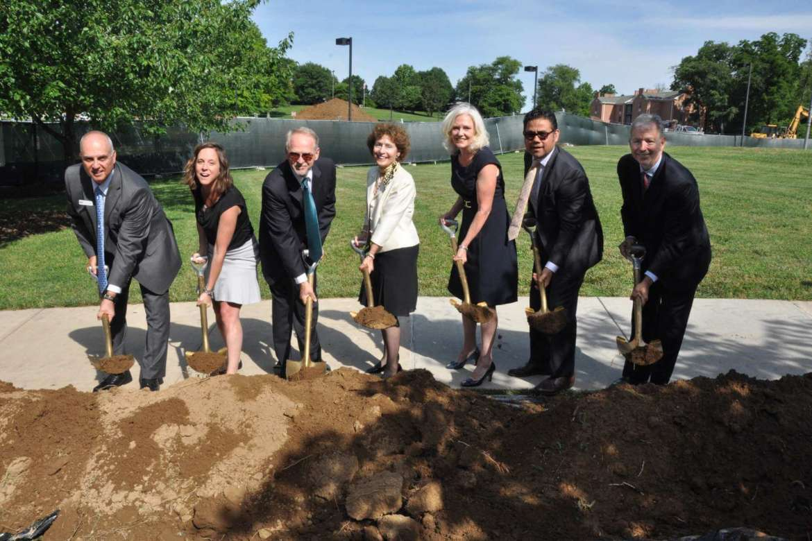 Speakers during the groundbreaking of a new residence hall at Shepherd University included Tom Trubiana, EdR president; Christine Hewett, community relations manager for Sen. Joe Manchin; Dr. Paul Hill, chancelor, West Virginia Higher Education Policy Commission;  Dr. Mary J.C. Hendrix,  Shepherd University president; Dr. Marcia Brand, president, Shepherd University Board of Governor's; James Vigil, vice president for administration; Timothy McShea, Shepherd University Foundation board of directors member.