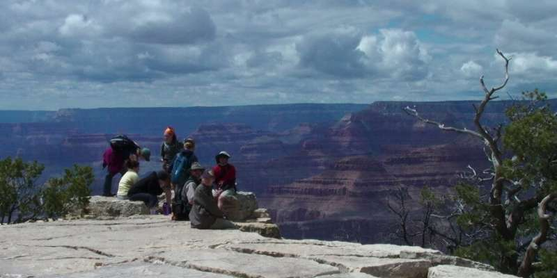 Students on the south rim of the grand canyon during the summer of 2011.
