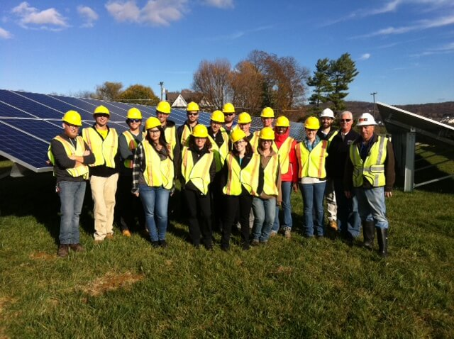 Sustainable Energy students at a solar installation near Middletown, MD in the fall of 2015.