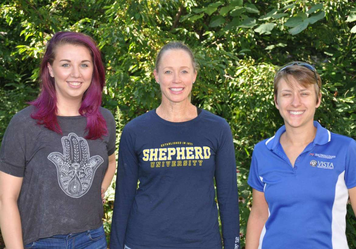 Harlee Marsh (left)and Emily Gilmore (right) are working with Dr. Danielle Hollar, clinical faculty and project director for Shepherd's USDA SNAP-Ed project to help design two pilot programs that will encourge school children to eat more healthy food.
