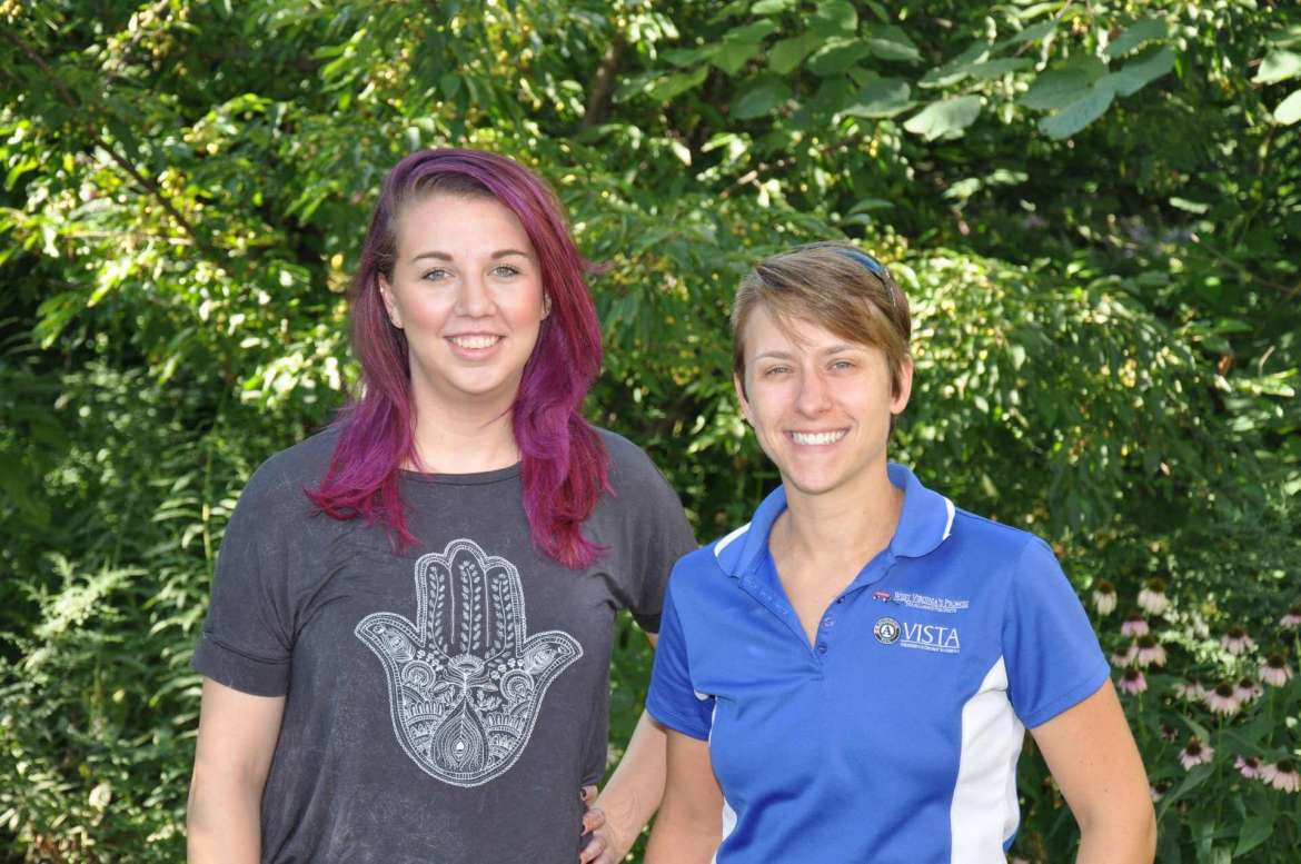 Harlee Marsh (left) and Emily Gilmore are new AmeriCorps VISTA volunteers working for Shepherd University's United States Department of Agriculture Supplemental Nutrition Assistance Program-Education gardening education and Smarter Lunchroom program.