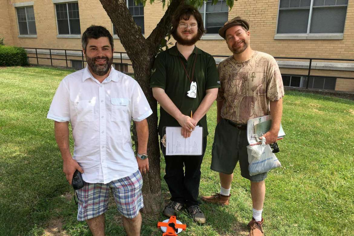 Dr. Mark Lesser (left), assistant professor of biology, is leading the effort to document the trees on Shepherd's campus. This summer he's has some help from Benjamin Lanham (middle), a biochemistry major from Martinsburg, and Rodney Dever, a Shepherd alumnus and local botanist.