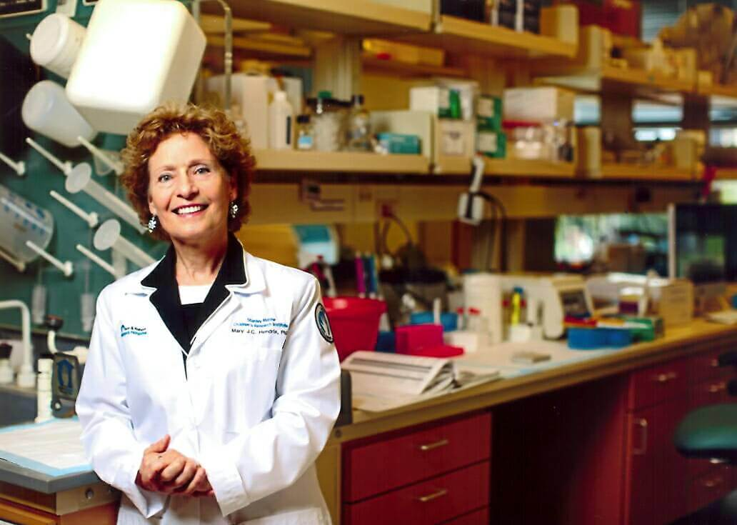 "Dr. Mary J.C. Hendrix's cancer research is the subject of an article in the journal ""Science."" Hendrix is shown here in her lab at the Stanley Manne Children's Research Institute at the Ann & Robert H. Lurie Children's Hospital of Chicago and Northwestern University's Feinberg School of Medicine."