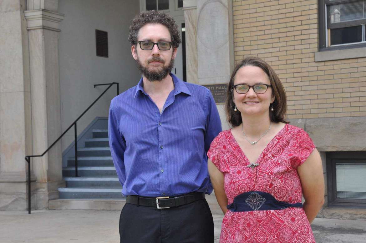 Dr. James Pate (l.), assistant professor of English and Dr. Carrie Messenger, associate professor of English.