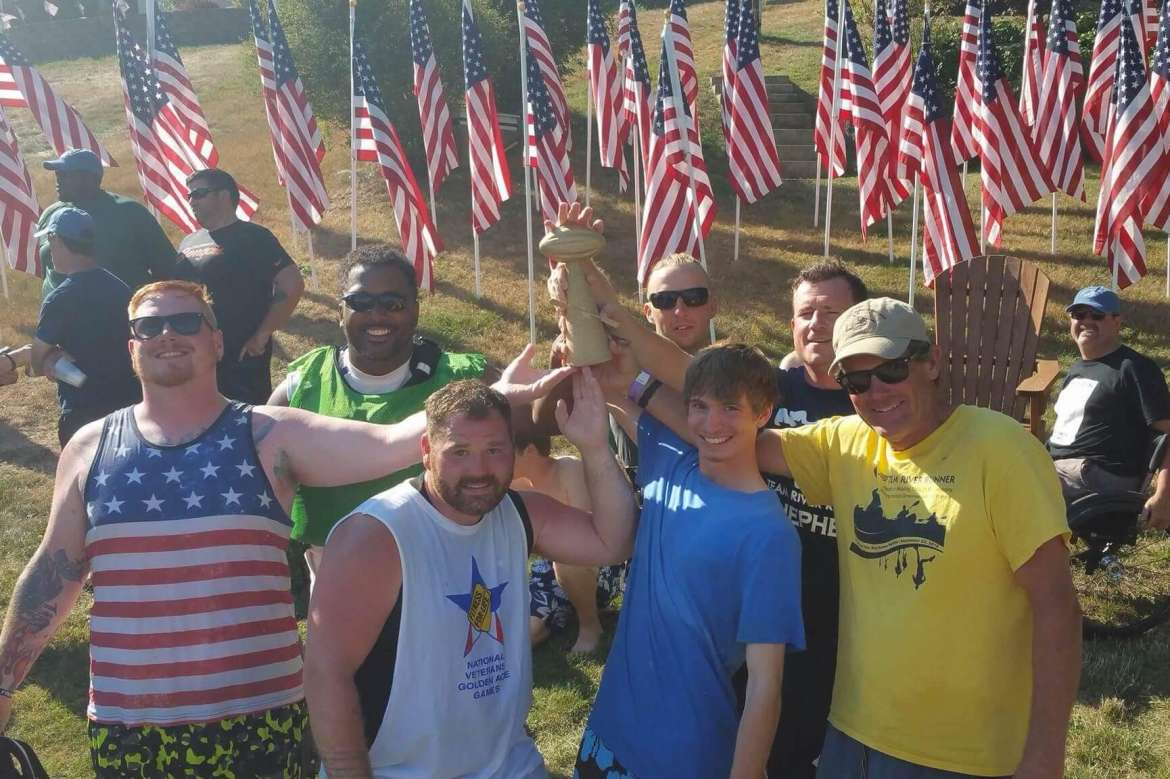 Members of Team River Runner-Shepherd's Team Ram Rod who won the national championship at the Veterans Kayak Football HOF Challenge August 7, 2016, include (front row, l. to r.) Josh Junk, veteran paddler from the Lehigh Valley Pennsylvania TRR who filled in during championship game; Billy Boylan, veteran paddler from the Battle Creek Michigan TRR chapter who filled in during first round play; Brendan Pepper, veteran and local community paddler; and Joe Mornini,  executive director and co-founder of Team River Runner USA; (back row, l. to r.) Colin Drew, veteran paddler from TRR-Shepherd; Matt Buchwitz, TRR-Shepherd team captain and a Shepherd student; and Nic Young, veteran paddler from TRR-Shepherd and a Shepherd student.  Not pictured: Joe Woodburn, veteran paddler from TRR-Shepherd and a Shepherd graduate; Shannon Zimmerman, volunteer from TRR-Shepherd and associate registrar for records/veteran certifying officer at Shepherd; Tracy Seffers, chapter coordinator from TRR-Shepherd, and registrar/veteran certifying officer at Shepherd; and Danielle Brosan, volunteer from TRR-Shepherd.