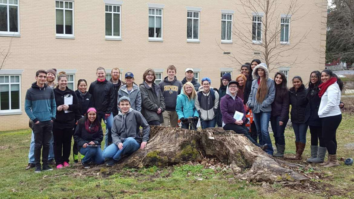 Members of Shepherd's biology honor society, Tri Beta, has  been heavily involved in doing an inventory of all the trees on campus. The organization had three events throughout the 2016 spring semester where students documented the species, height, diameter, and condition of trees.