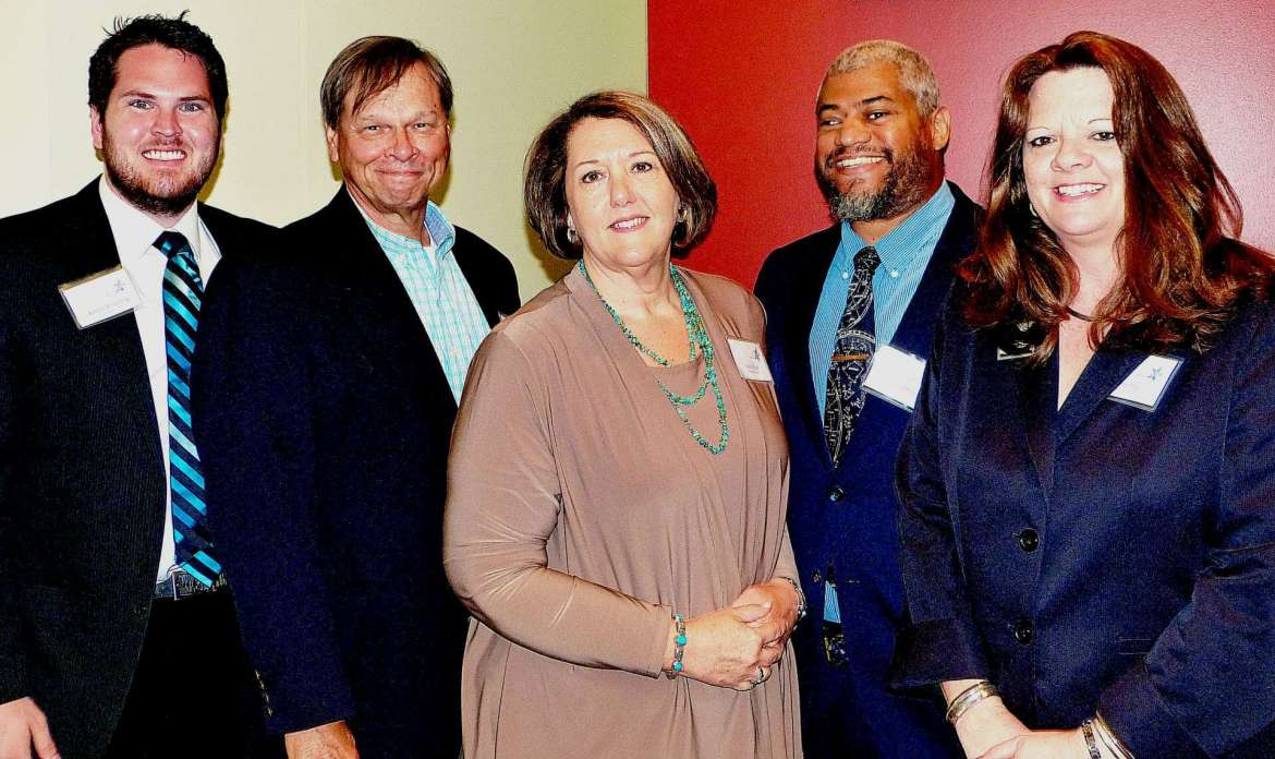 Gateway Academy, represented by (l. to r.) student counselor Kahlen Browning, Dr. John Q. Adams, Carol Boyd, Dr. Jason Best, and Holly Morgan Frye.