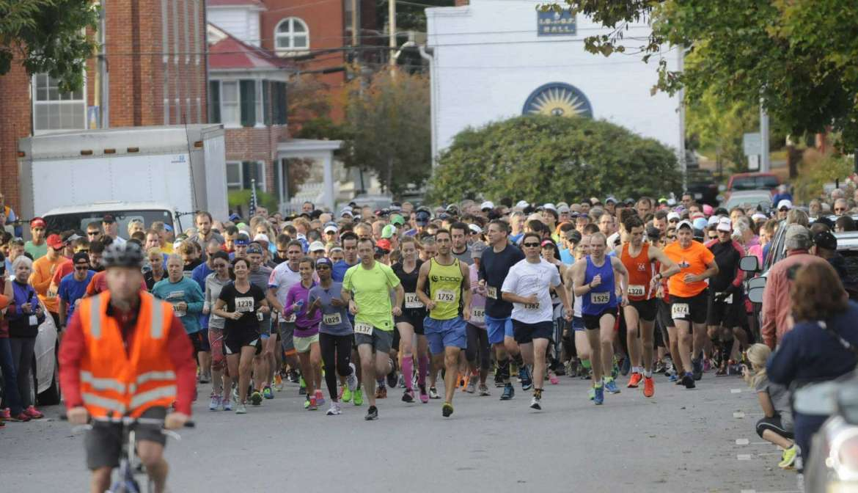 Half Marathon Start along King Street at 8:30AM Sat. morning in Shepherdstown. See more photos on CU.journal-news.net. (Journal Photo by Ron Agnir)