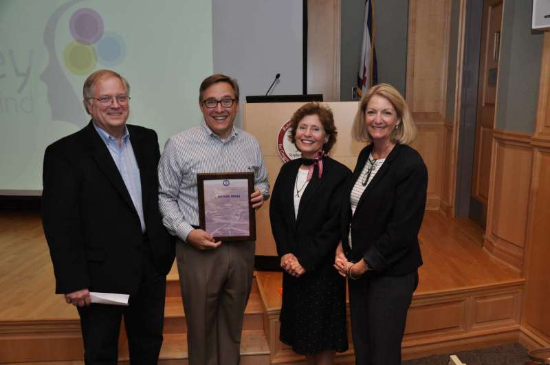 Pictured above (l. to r.) are Dr. Ben Martz, dean of business school development and chair of the Department of Business Administration, President's Lecture speaker Rob Hoxton, President Mary J.C. Hendrix, and Monica Lingenfelter, executive vice president of the Shepherd University Foundation.