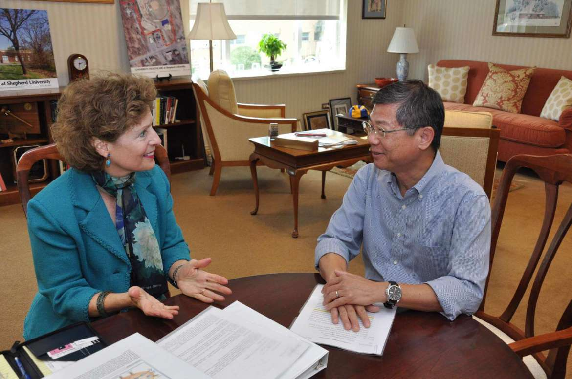 Shepherd University President Mary J.C. Hendrix and Dr. Du-Shieng Chien, the president and founder of TaiRX, Inc.