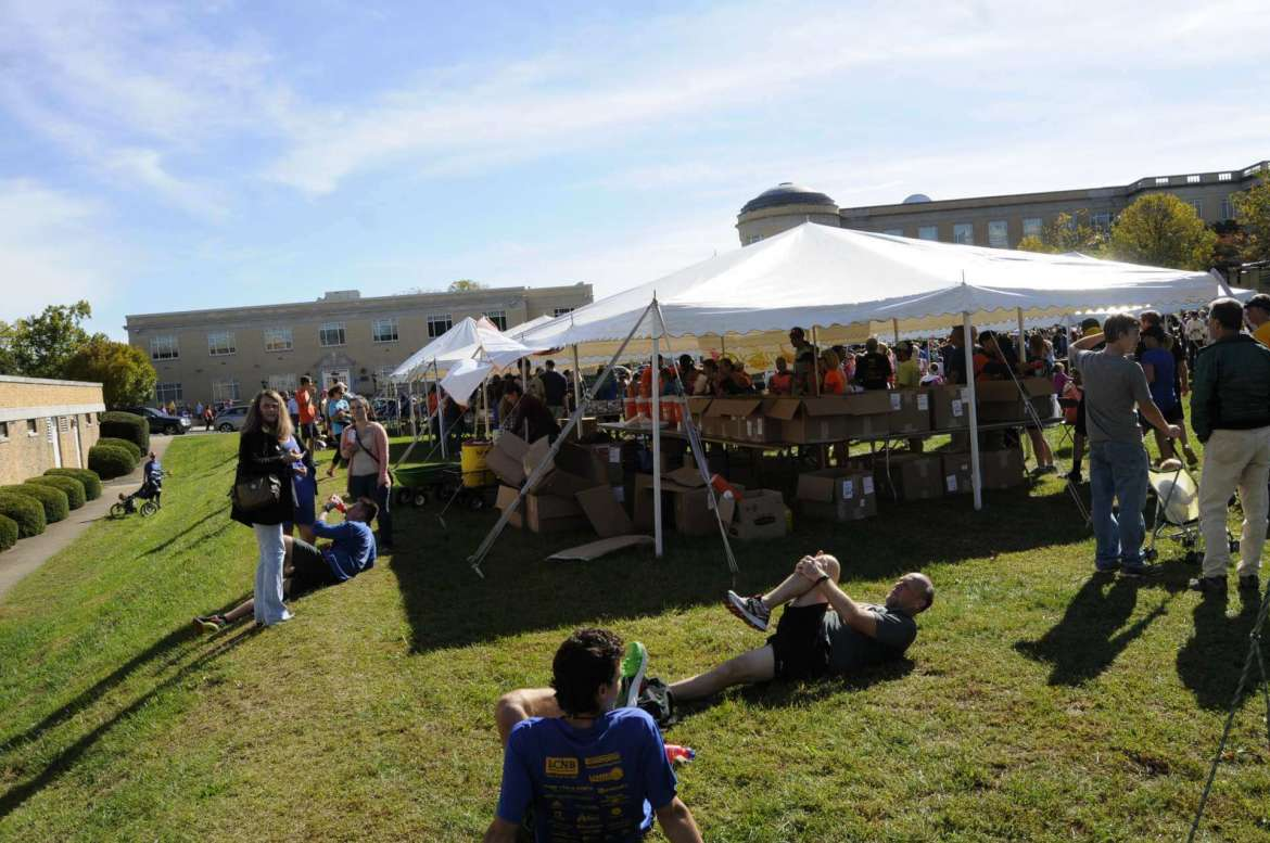 Shepherd students, faculty, and staff volunteer at the Midway to help late registration, first aid station, expo, and the finished line on Saturday, October 1.