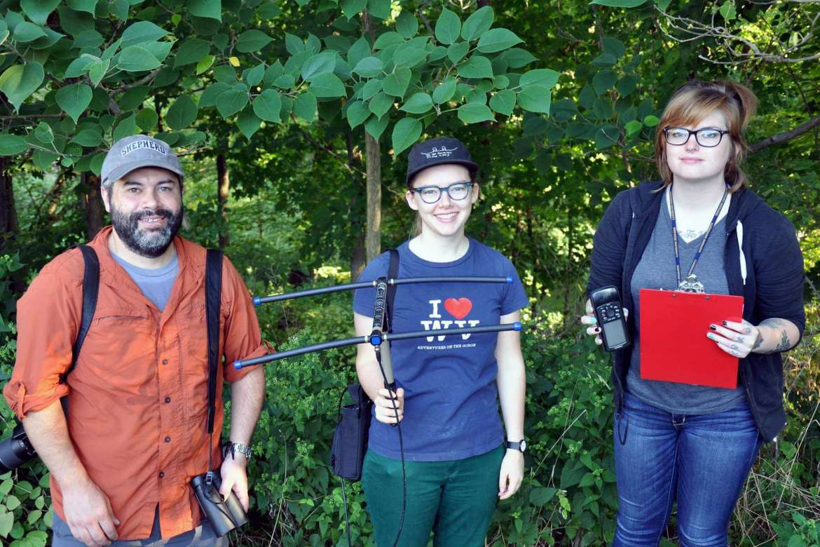 Students from Dr. Mark Lesser's general ecology class spent some time on a recent morning tracking a squirrel. Pictured (l-r) are Dr. Mark Lesser, assisstant professor of biology, and Ella Bushman and Brooke Comer, both biology majors from Martinsburg.