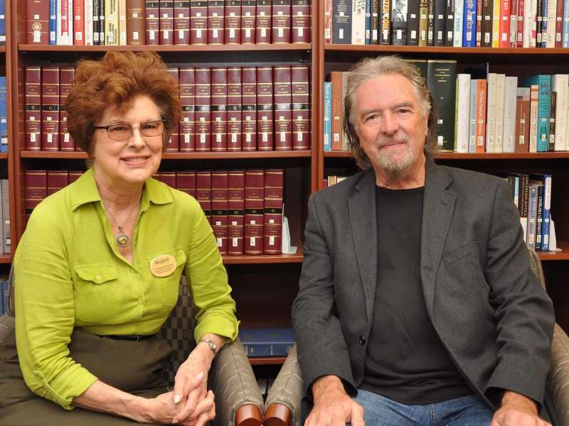 """Novelist and North Carolina native Charles Frazier, this year's Appalachian Writer-in-Residence, is pictured with Dr. Sylvia Bailey Shurbutt, professor of English and director of the program. Frazier, the author of """"Cold Mountain,"""" """"Thirteen Moons,"""" and """"Nightwoods,"""" participated in a series of readings, lectures, and events on campus and in the community in September. The Appalachian Heritage Writer's Award and Appalachian Heritage Writer-in-Residence Project were developed by Shepherd University, the Shepherd University Foundation, and the West Virginia Humanities Council in 1998 to celebrate and honor the work of a distinguished contemporary Appalachian writer. The literary residency was designed to function in concert with the Appalachian Heritage Festival, an annual celebration of Appalachian artistic and cultural traditions, sponsored by the Performing Arts Series at Shepherd (PASS)."""