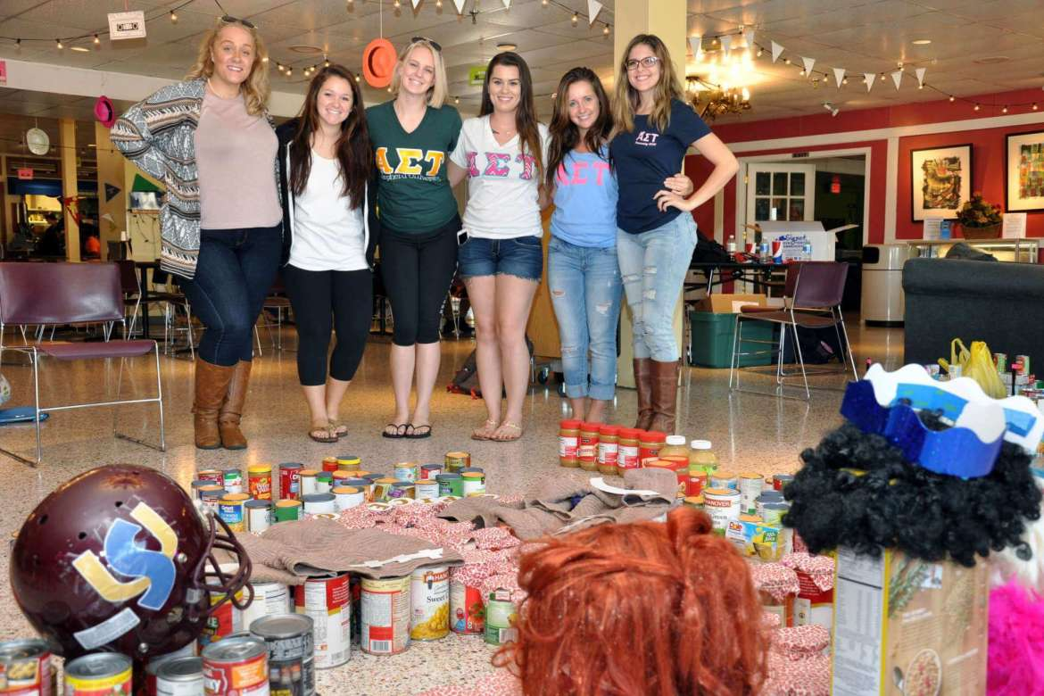 Members of Alpha Sigma Tau who took second place in the Homecoming food drive competition are (l-r) Kathryn Leonarczyk, music education, Hagerstown, Maryland; Kelly Schevitz, recreational therapy, Baltimore; Shelby McTighe, fitness and exercise science Ranson; Ali Morey, elementary education, Middletown, Maryland; Brooke Russell, business, Winchester, Virginia; and Alaina McDonald, nursing, Inwood.