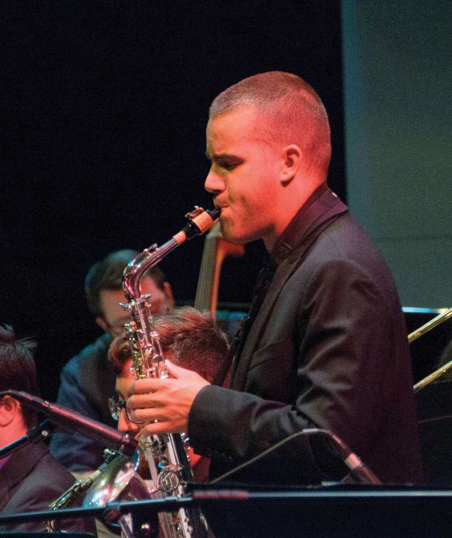 Chase Remsburg, saxophone, photo by John Crawford.