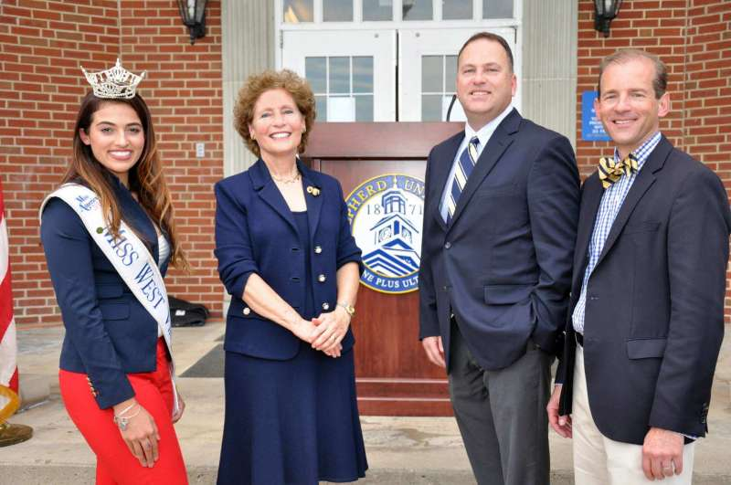 Speakers at the annual Founders Day event were (l. to r.) student Morgan Breeden, Miss West Virginia; President Mary J.C. Hendrix '74; alumnus Bill Baker '88; and emcee Dr. Scott Beard. The presentation was preceded by a procession from McMurran Hall to Shaw Hall led by the Ram Band. See all the Founders Day photos on Flickr: https://www.flickr.com/photos/shepherdu/albums/72157674318237740