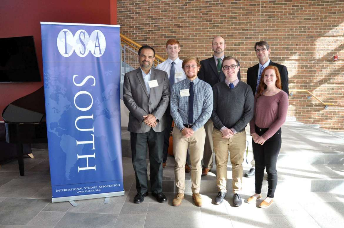 "Shepherd University hosted the annual meeting of the International Studies Association—South, titled ""Global Aspects of Civil War: Impact and Consequences,"" October 14-15 in Erma Ora Byrd Hall. Pictured (front l.-r.) are Dr. T.V. Paul, a political science professor at McGill University and 2016-2017 International Studies Association president; and student volunteers William Wheatley, a political science major from Harpers Ferry; Devin Spinks, a global studies major from Summersville; and Sarah Muskett, a global studies major from Inwood. (back l.-r.) Casey Feezle, a political science major from Romney; Dr. Joseph Robbins, associate professor of political science and chair of the Department of Political Science; and Dr. Aart Holtslag, assistant professor of political science and conference organizer."