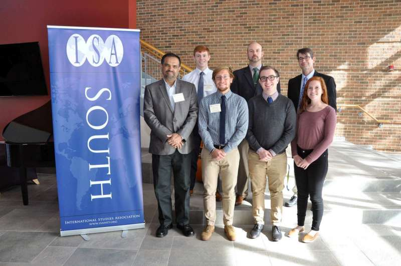 Shepherd University hosted the International Studies Association-South's conference October 14-15. Pictured are (front row, l. to r.) Dr. T.V. Paul, a political science professor at McGill University and 2016-2017 International Studies Association president; William Wheatley, a political science major from Harpers Ferry; Devin Spinks, a global studies major from Summersville; and Sarah Muskett, a global studies major from Inwood; (back row) Casey Feezle, a political science major from Romney; Dr. Joseph Robbins, associate professor of political science and chair of the Department of Political Science; and Dr. Aart Holtslag, assistant professor of political science and conference organizer.