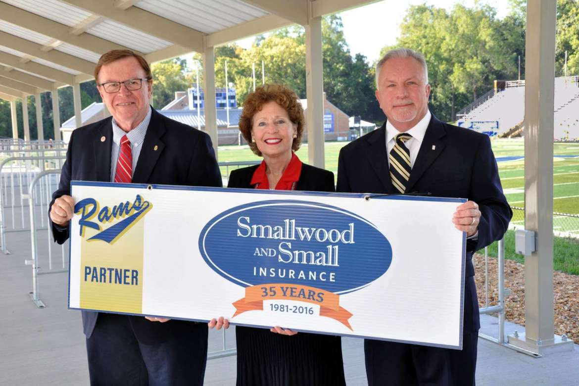 Shepherd University and Smallwood and Small Insurance have agreed to a unique new comprehensive campuswide partnership program, the first of its kind for the university, that includes naming rights for Shepherd's new pavilion overlooking Ram Stadium, top-level benefits in the  Athletic Department's new Ram Partner Program, and signage in several campus facilities. Pictured (l-r) are Tom Miller, owner and president of Smallwood and Small, Dr. Mary J.C. Hendrix, Shepherd president, and Fred Kerns, owner and director of marketing for Smallwood and Small.