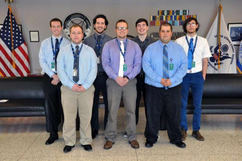 Photo—(front row, l.-r.) Bobby Plume, Hagerstown, Maryland; Nathan Corp, Frederick, Maryland; and Kenneth Nusbaum, Walkersville, Maryland. (back row, l.-r.) Jonathan Stammer, Oakland, Maryland; Kennedy Cook, Charles Town; Cody Brown, Martinsburg; and Will Richards, Charles Town.