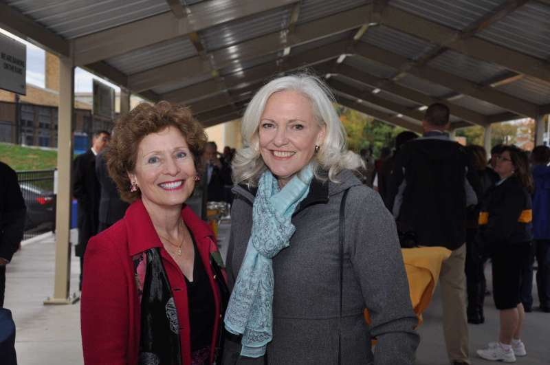 Dr. Marcia Brand (r.), chair of the Shepherd University Board of Governors, and President Mary J.C. Hendrix '74 were among the attendees at the new Homecoming event at the Smallwood and Small Pavilion. For more Homecoming photos, visit https://www.flickr.com/photos/shepherdu/albums/with/72157674500915912