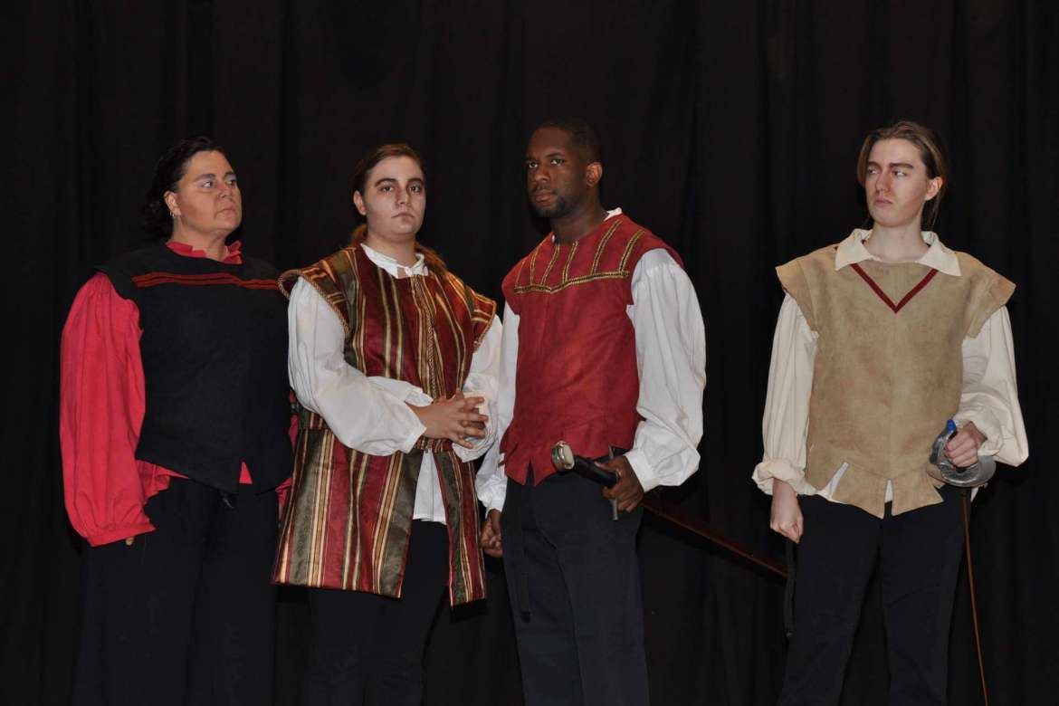 "Performers in the past Rude Mechanicals Medieval and Renaissance Players ""Othello"" include (from left) Deidre Morrison as Iago; Danielle Beauclair as the Duke of Venice; Jake Anderson as Othello; and TK Lindsay as Roderigo."