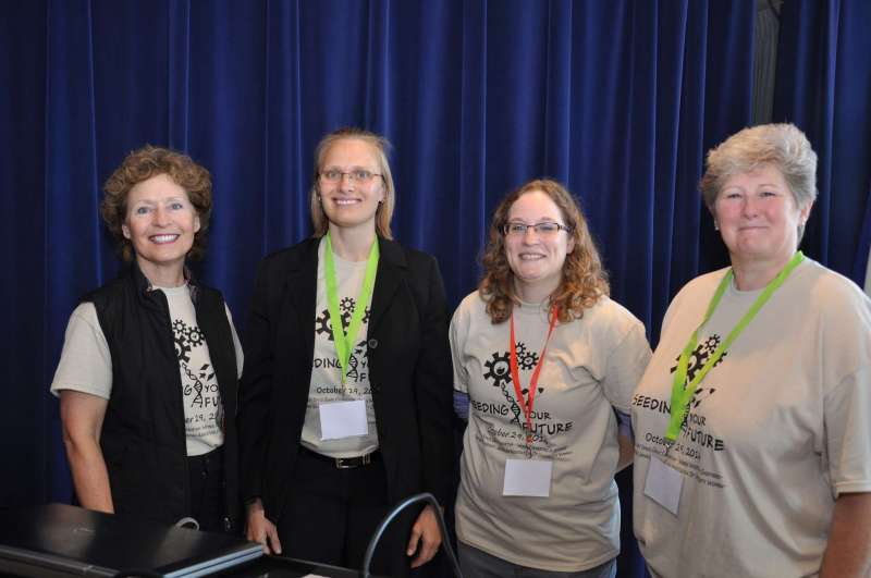 President Mary J.C. Hendrix '74 (l.) gave the opening remarks at the Seeding Your Future Conference. She is shown here with conference organizers Dr. Sytil Murphy and Dr. Jordan Mader, and Dr. Colleen Nolan, dean of the School of Natural Sciences and Mathematics.