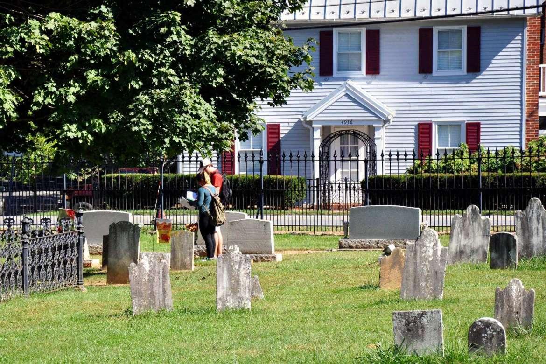 Meghan Short and Sean Gagliardo collect data in Elmwood Cemetery.