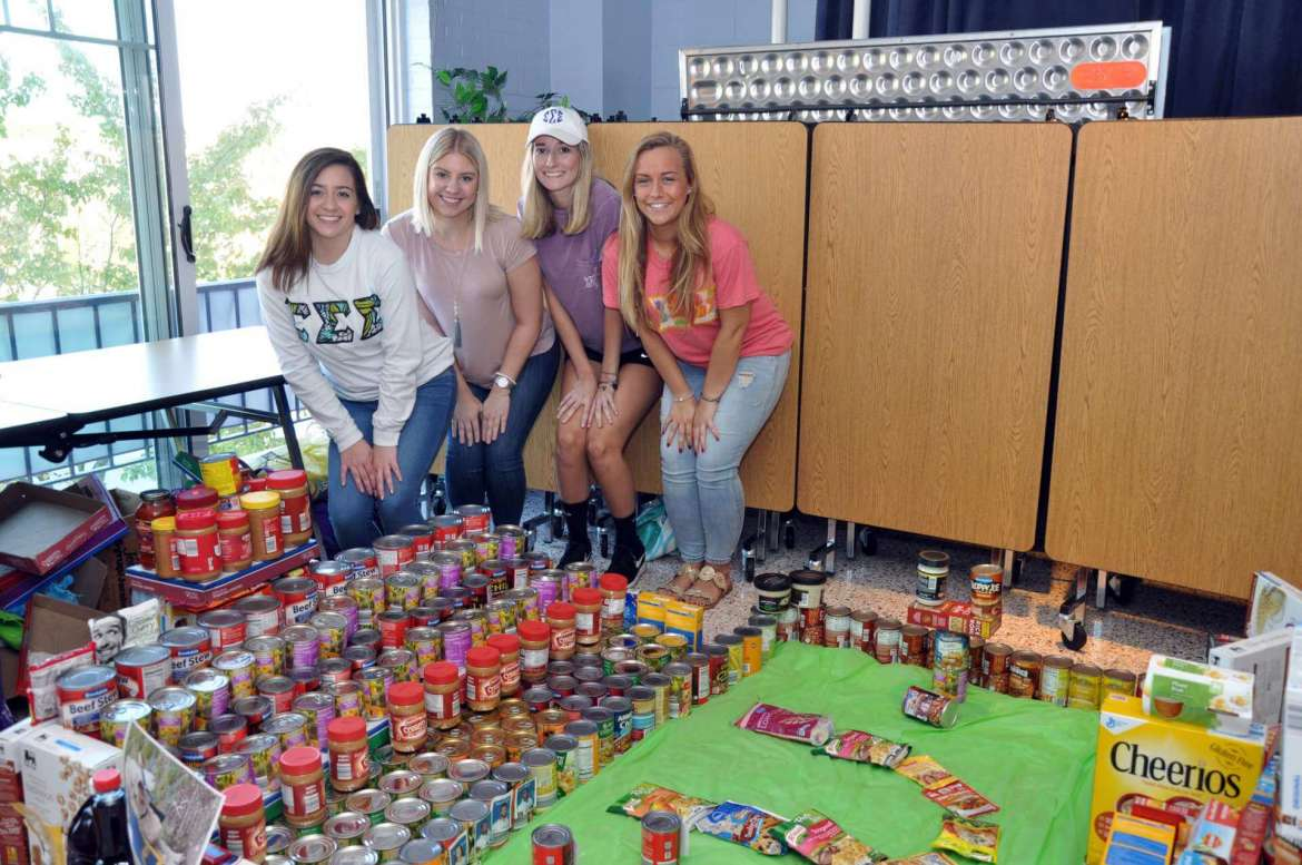 Members of Sigma Sigma Sigma who took first place in the Homecoming food drive are (l-r) Taylor Carroll, psychology, Kearneysville; Haleigh Roby, elemetnary education, Shepherdstown; Kelsey Chaney, communications, Hedgesville; and Greysen Lingg, business administration, Frederick, Maryland.