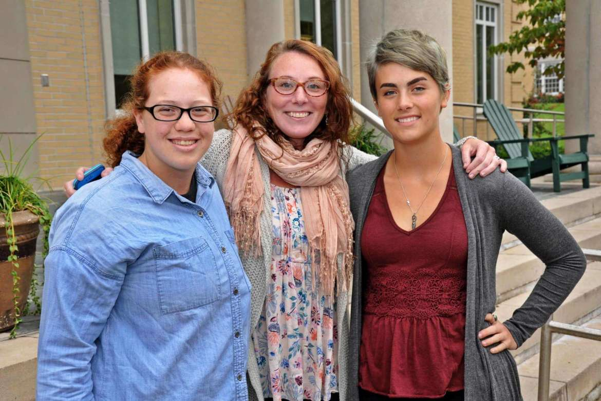 Organizers of the Rams Rally for Respect include (l. to r.) Tessa Chafin, a political science major from Morgantown, Annie Lewin, Shepherd's Title IX and special projects coordinator, and Molly Lovern, a biochemistry major from Bluefield.
