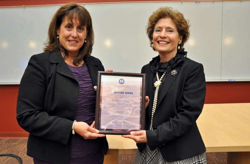 Dr. Roberta DeBiasi (l.) is pictured with President Mary J.C. Hendrix at the October 10 President's Lecture Series presentation.