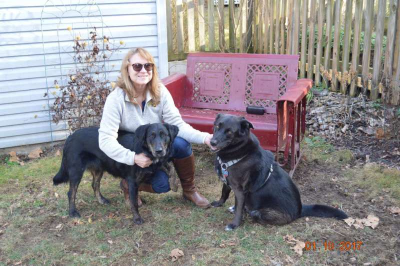 Dr. Karen S. Adams, Assistant Professor of Mathematics, with Layla and Ellie (Elle Noir)