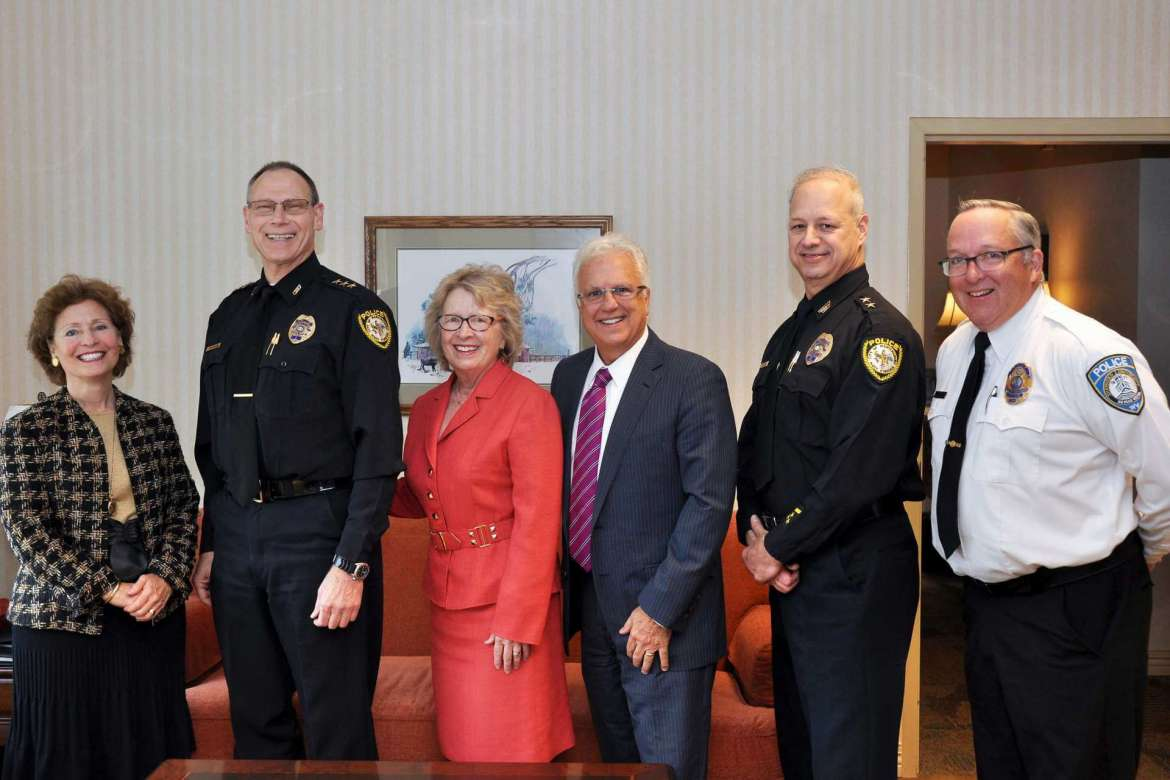 Shepherd University is partnering with Berkeley County Schools and the Martinsburg Police Department on The Martinsburg Initiative, an effort to stem the opioid addiction problem by identifying and trying to eliminate the basic causes of drug abuse in at-risk families. Pictured (l-r) are Dr. Mary J.C. Hendrix, Shepherd president; Maury Richards, Martinsburg police chief; Dr. Virginia Hicks, Shepherd assistant provost for academic and community outreach; Manny Arvon, Berkeley County schools superintendent; George Swartwood, Martinsburg deputy police chief; and John McAvoy, Shepherd police chief.