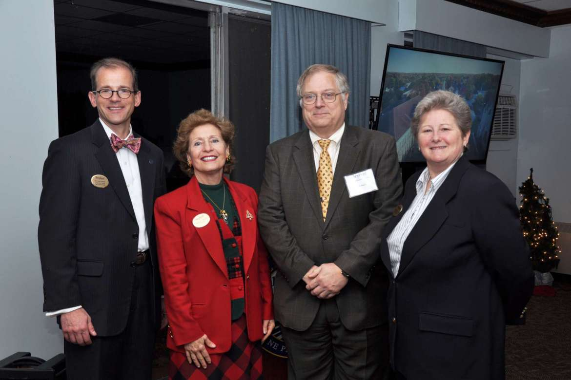 Pictured (l-r) Dr. Scott Beard, associate provost and Innovation Center co-director; Dr. Mary J.C. Hendrix, Shepherd president; Dr. Ben Martz, dean of business school development and Innovation Center co-chair; and Dr. Colleen Nolan, dean of School of Natural Sciences and Mathematics and Innovation Center co-director.