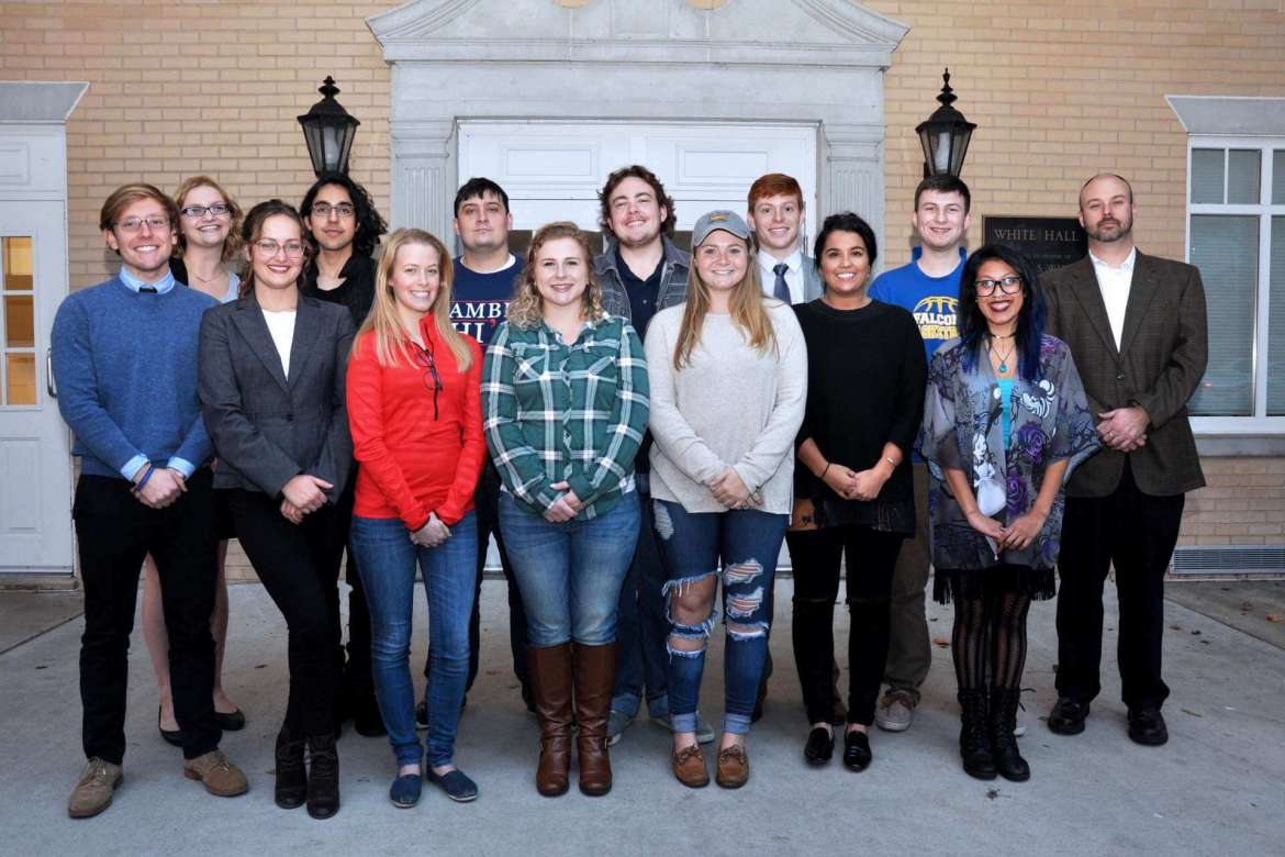 Members of the Shepherd University debate team include front row (l-r) Will Wheatley, Harpers Ferry; Maggie Cohee Nevin, Martinsburg; Desiree Rose, Hedgesville; Katie Zakrzewski, Berkeley Springs; Jenn Dickey, Mount Airy, Maryland; Ashlin Petrucci, Martinsburg; and Karen Paiz, Silver Spring, Maryland. Back row (l-r) Lauren Duckworth, Kingwood; David Bennett, Hedgesville; Hunter Cutlip, Clarksburg; Lance Wines, Winchester; Casey Feezle, Augusta; and Samuel Brown, Harpers Ferry.