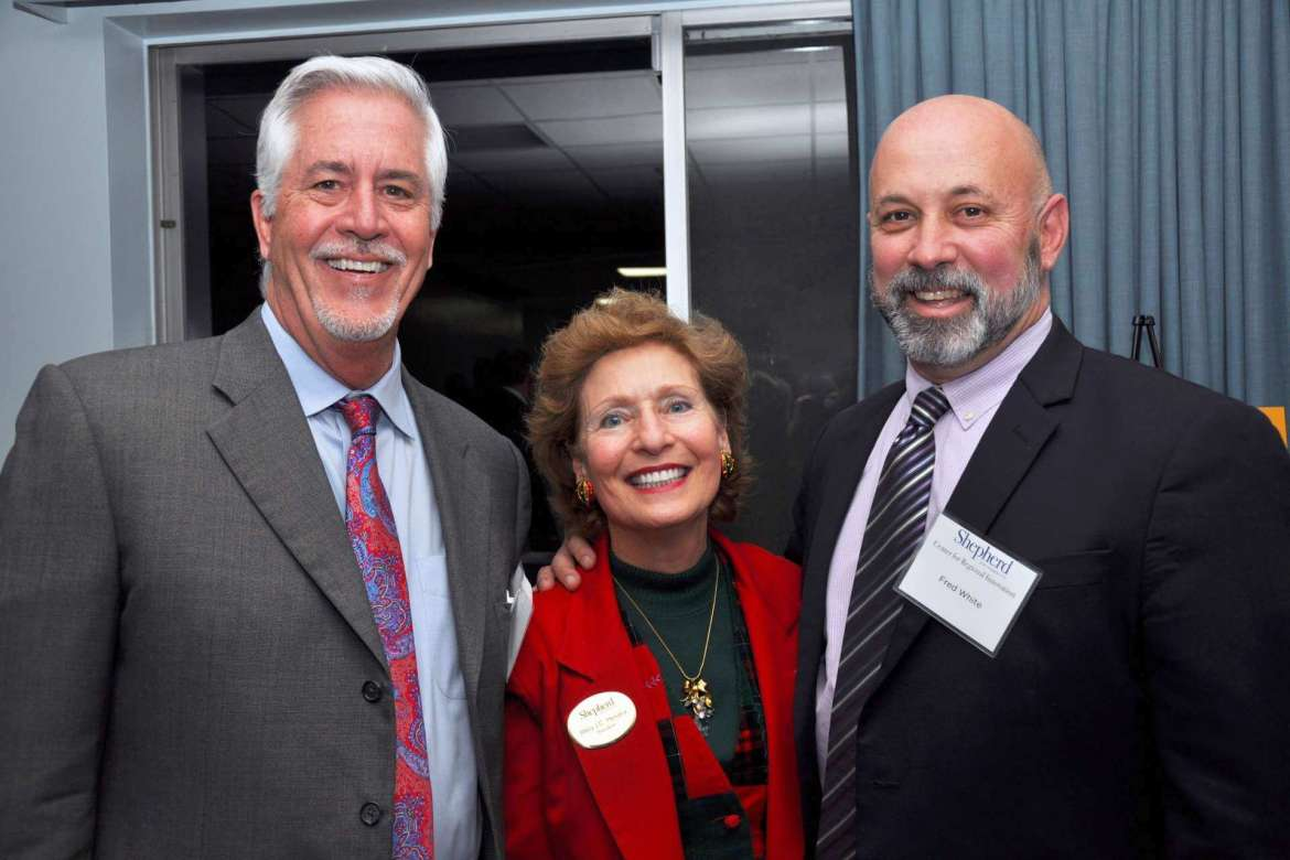 Pictured (l-r) Kurt Gehlsen, vice president and scientific officer, Research Corporation Technologies; Dr. Mary J.C. Hendrix, Shepherd president; and Fred White, senior director public sector, ABS Consulting.