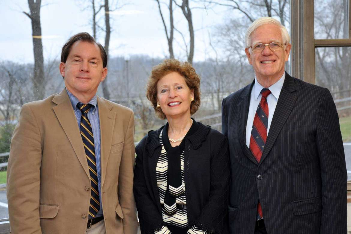 Pictured (l-r) are Dr. Michael Hieb, research associate professor in George Mason University's Center for Excellence in C4I (Command, Control, Communications, Computing, Intelligence) and Cyber; Dr. Mary J.C. Hendrix, president of Shepherd University; and Dr. Linton Wells II, managing partner of Wells Analytics, LLC and a former Principal Deputy Assistant Secretary of Defense.