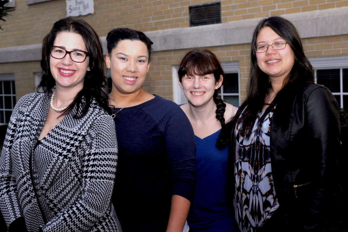 Picture (l-r) are Lisa Butler, a computer engineering and computer science major from Charles Town and president of Shepherd's IEEE chapter; Keisha Burns, a computer and information technology major from Hedgesville; Hannah McDonald, a math major from Morgantown who chairs Shepherd's WIE group; and Charlynn Stubbert, a computer engineering major from Winchester, Virginia, and treasurer of Shepherd's IEEE chapter.