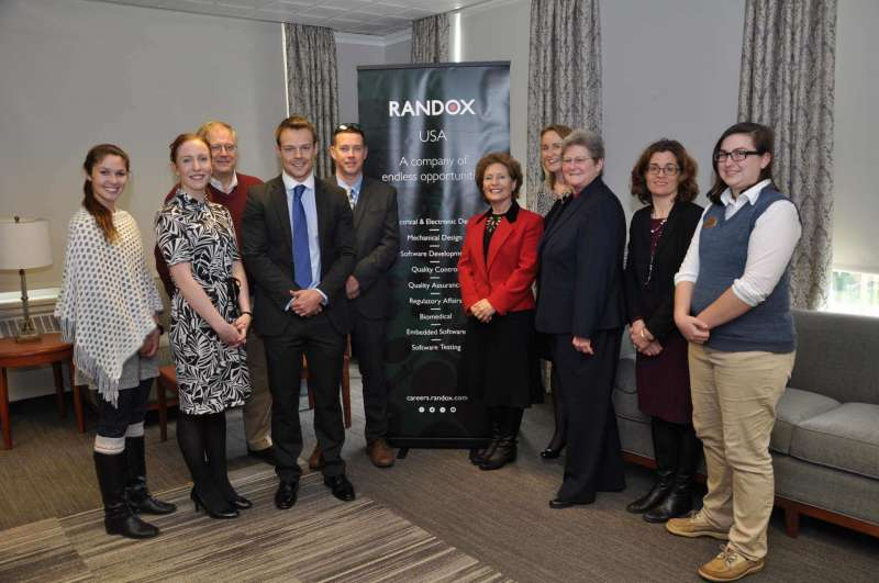 Those attending a meeting with Randox representatives were (l. to r.) Caitlin O'Connor, nursing student; Lydnsay Rodgerson, Randox senior recruitment consultant; Dr. Ben Martz, dean of business school development; Andrew Dunlop, Randox national sales manager; Doug Bramblett, Randox plant manager; President Mary J.C. Hendrix; Dr. Sarah Gildea, Randox veterinary diagnostics; Dr. Colleen Nolan, dean of the School of Natural Sciences and Mathematics; Dr. Clarissa Mathews, chair of the  Institute of Environmental and Physical Sciences; and Caroline Shamberger, psychology major.